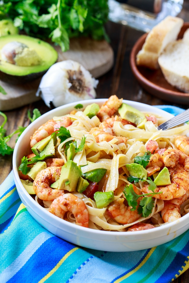 Avocado Shrimp and Tequila Fettuccine