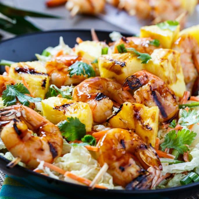 Grilled Teriyaki Shrimp with Asian Slaw