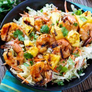 Grilled Teriyaki Shrimp Skewers with Asian Slaw