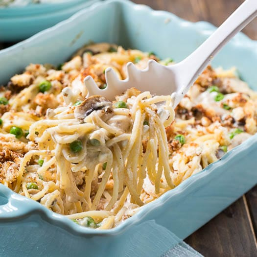 Turkey Tetrazzini with peas, mushrooms, and a splash of sherry.