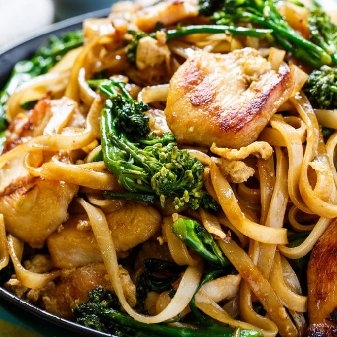Thai Style Stir Fried Noodles With Chicken And Broccolini Spicy Southern Kitchen