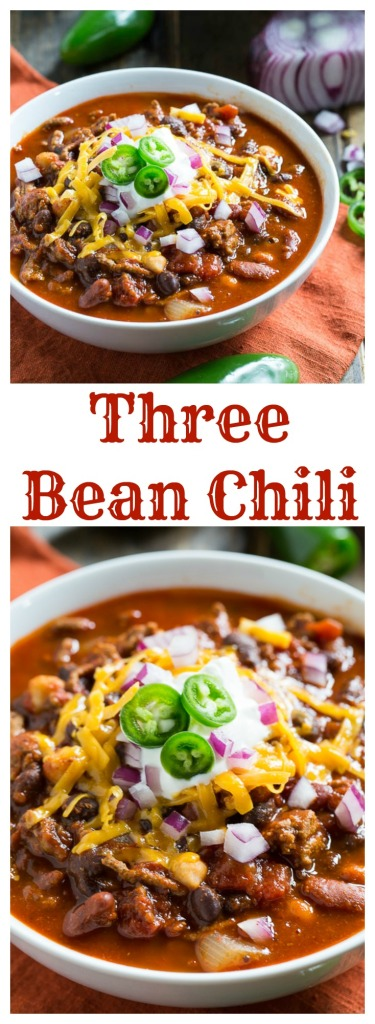 A thick and hearty Three Bean Chili.