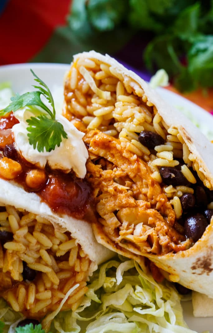 Santa Fe Tilapia Burrito with beans and rice.