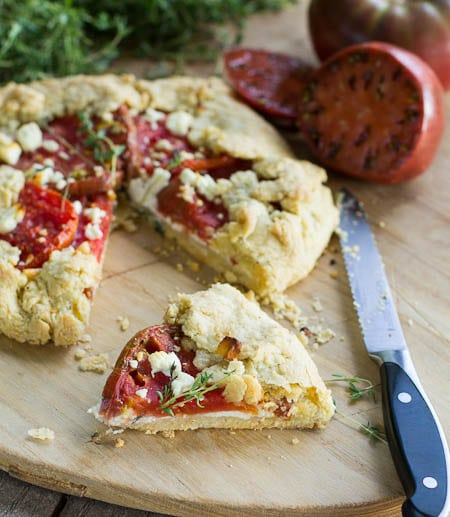 Tomato Galette with Feta with slice cut out.