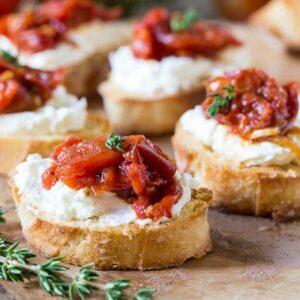 Tomato Jam Crostini with Whipped Feta
