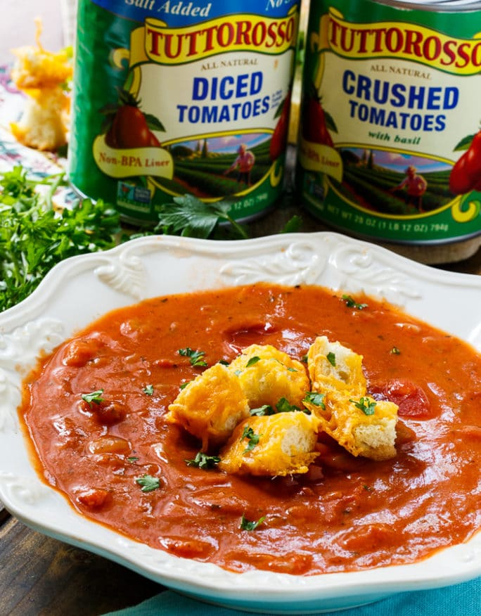 Chunky Tomato Soup with Cheese Croutons