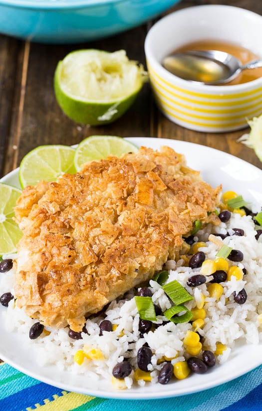 Tortilla Crusted Chicken and Coconut Rice with black beans ans corn