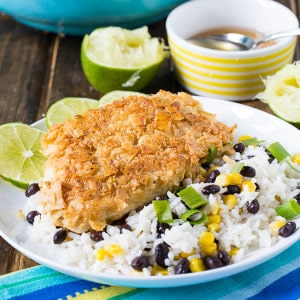 Tortilla Crusted Chicken and Coconut Rice with Black Beans and Corn