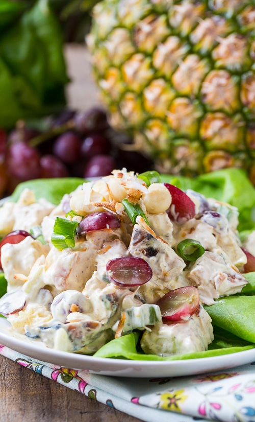 Tropical Chicken Salad with pineapple, grapes, and macadamia nuts