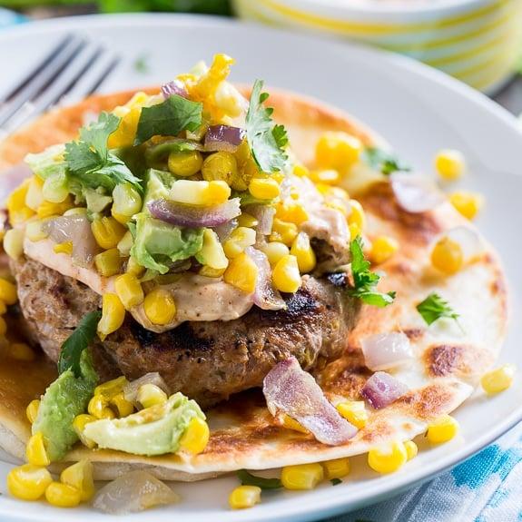 Tex Mex Turkey Burges with Spicy Mayo and Avocado-Corn Salsa