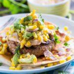 Tex Mex Turkey Burgers with Spicy Mayo and Avocado-Corn Salsa