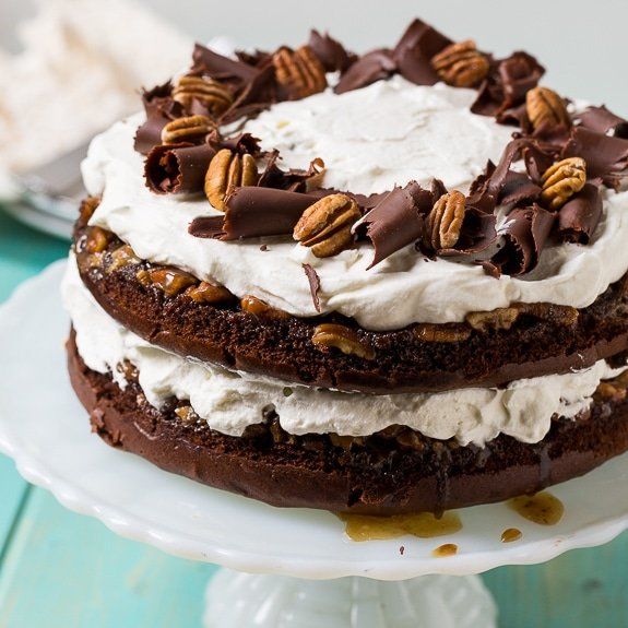 Chocolate Praline Layer Cake- super easy to make from a cake mix.