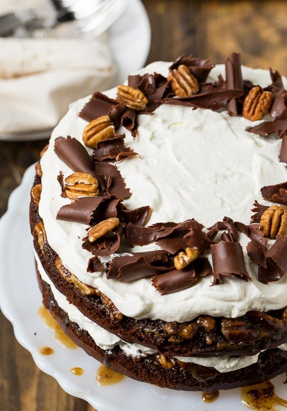 Chocolate Praline Layer Cake - super easy to make from a cake mix!