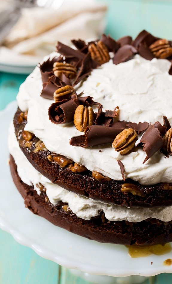 Chocolate Praline Layer Cake- super easy to make from a cake mix!