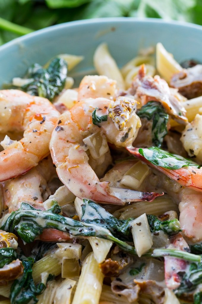 Creamy Tuscan Shrimp over pasta