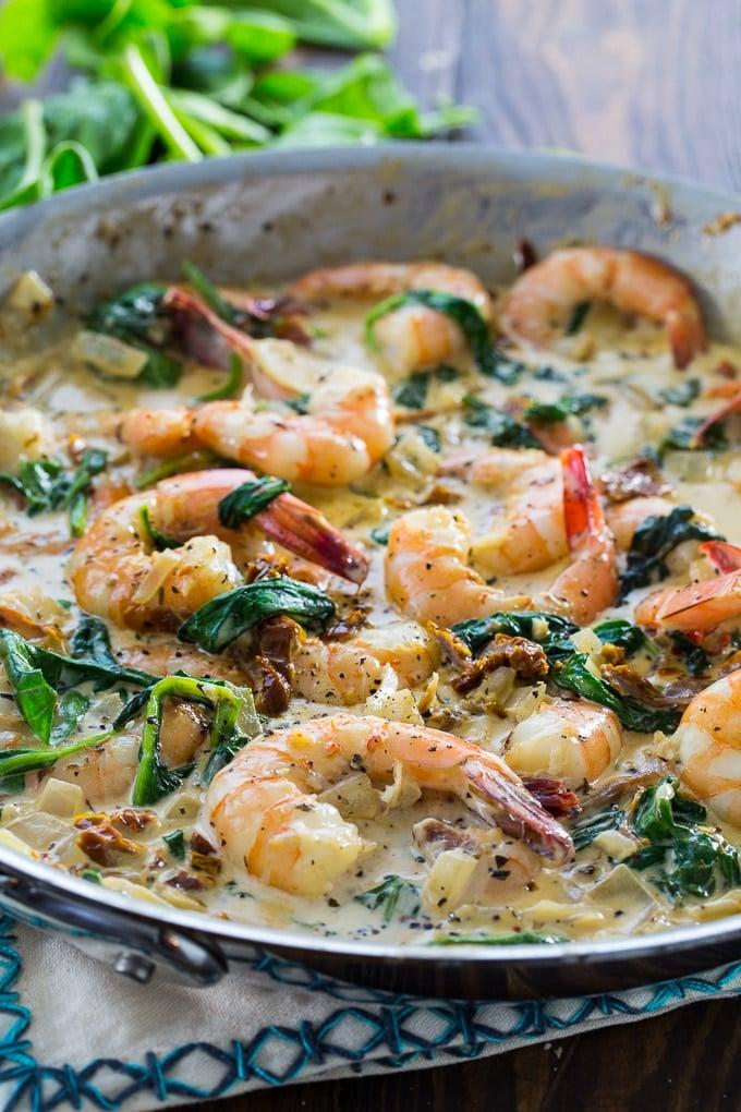 Creamy Tuscan Shrimp in a creamy Parmesan sauce