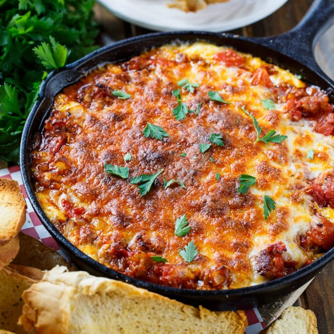 Lasagna Dip with Sausage and lots of cheese.