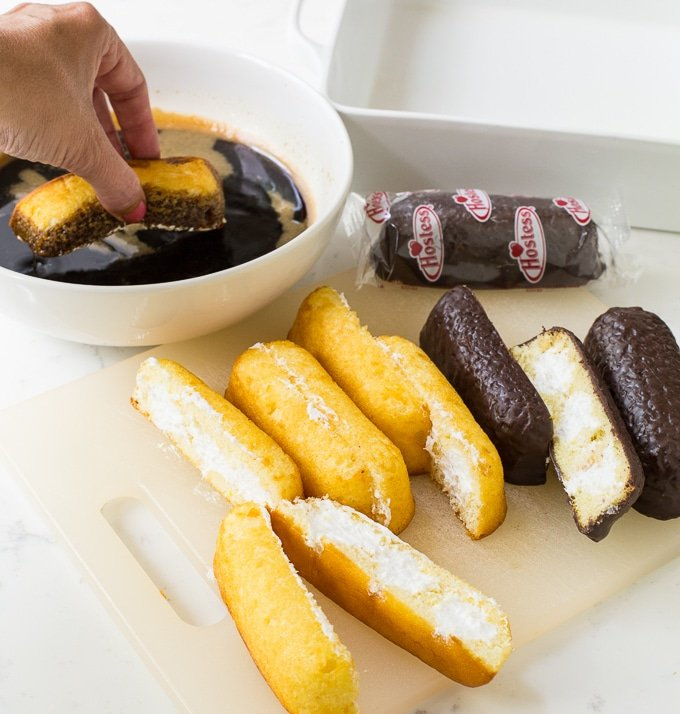 Twinkie Tiramisu made with plain twinkies and chocolate covered twinkies