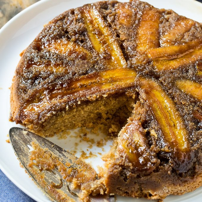 Upside Down Peanut Butter Banana Cake