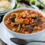 Vegetable Beef Soup - a great way to use up end of summer vegetables from the garden. Can bee frozen and eaten once the cooler weather sets in.