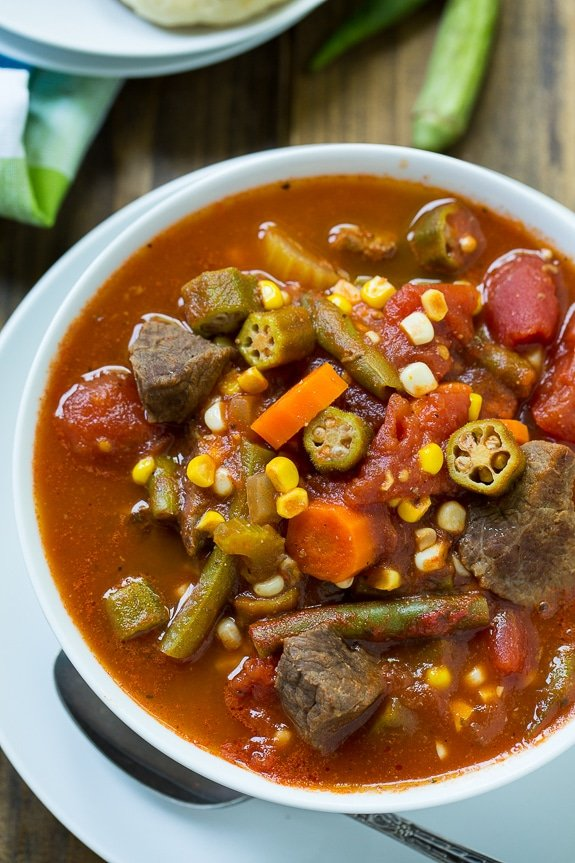 Vegetable Beef Soup - a great way to use up end of summer vegetables from the garden. Can be frozen and eaten once the cooler weather sets in.