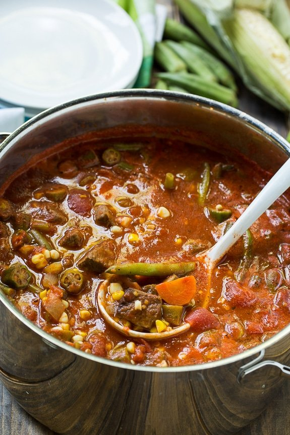 Vegetable Beef Soup - a great way to use up end of summer vegetables. Can be frozen and reheated once the cooler weather sets in.