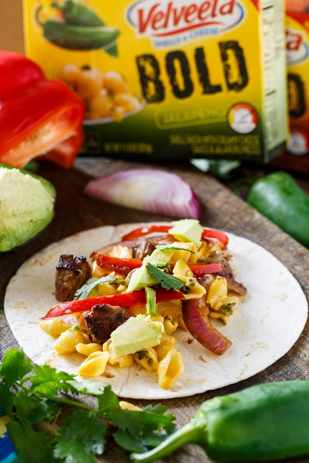 Mac and Cheese Steak Fajitas