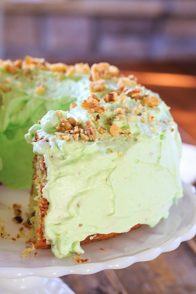 Watergate Cake- a vintage recipe made with cake mix and instant pistachio pudding.