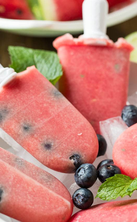 Watermelon-Mint Popsicles with Blueberries
