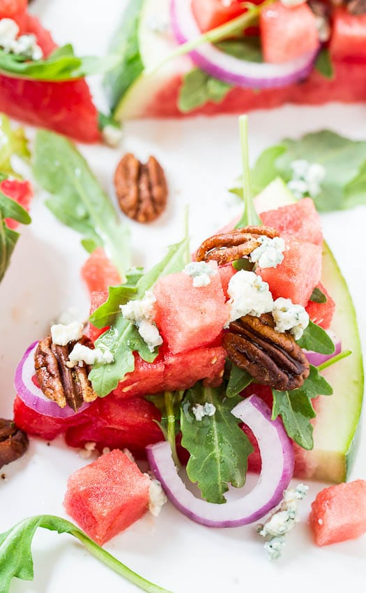 Watermelon and Blue Cheese Salad with Spicy Pecans