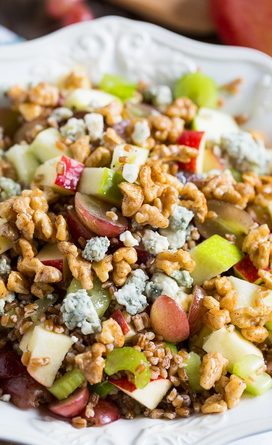 Wheat Berry Waldorf Salad with apples, grapes, walnuts, and blue cheese #healthy