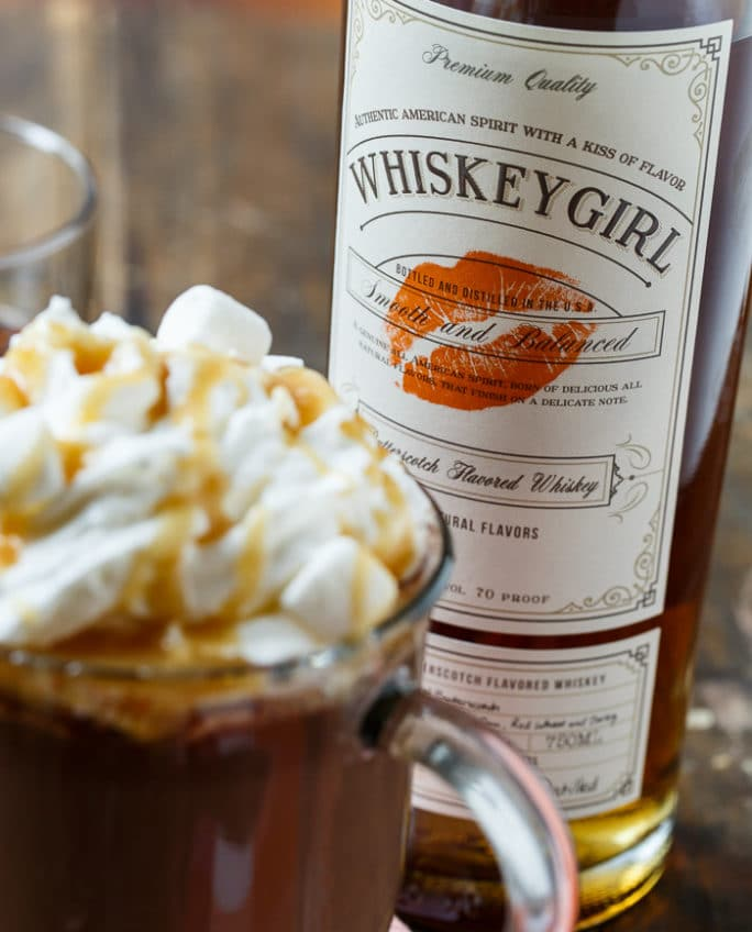 Butterscotch Whiskey Hot Chocolate- perfect for Valentine's Day.