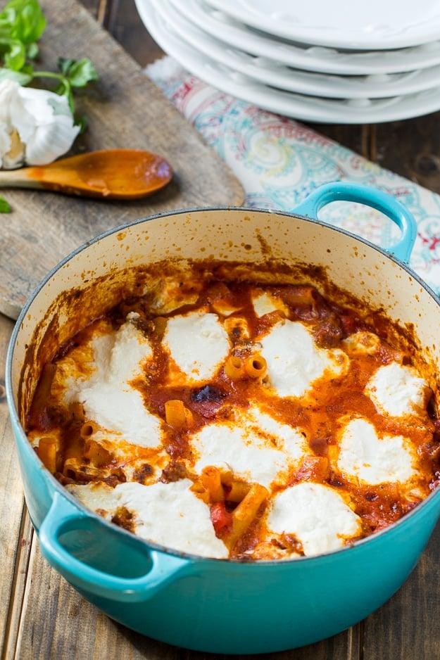 One Pot Ziti with Sausage and Ricotta