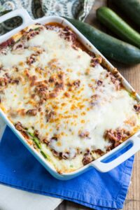 Zucchini Lasagna. A thick meat sauce and zucchini noodles make this lasagna a delicious gluten-free meal.