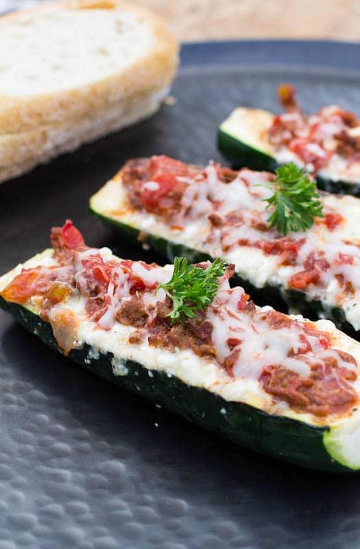 Zucchini Boats close-up.