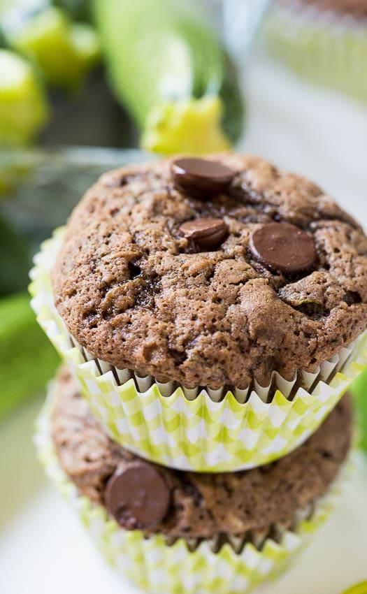 Dark Chocolate Zucchini Muffins
